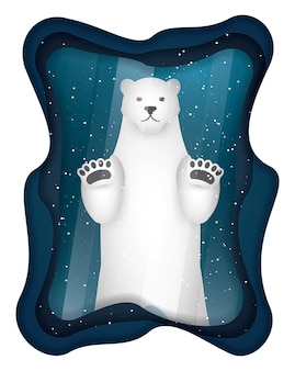 Polar bear in glass frame, paper art and craft style.