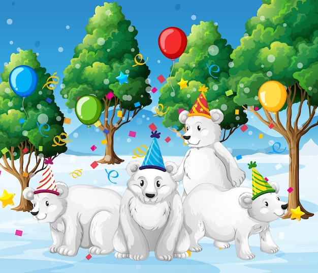 Группа белых медведей в партии тематического мультипликационного персонажа на белом