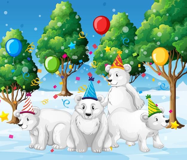Gruppo di orso polare nel personaggio dei cartoni animati di tema del partito su bianco
