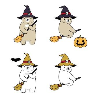 Белый медведь хэллоуин шляпа ведьмы мультфильм