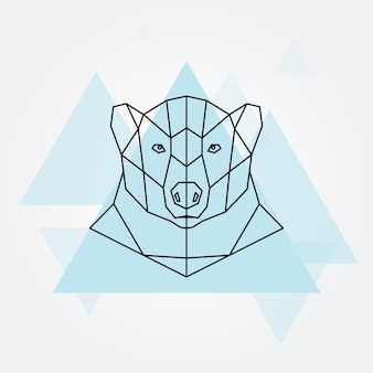 ホッキョクグマの頭の幾何学的な線のシルエット