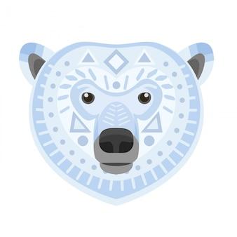 Polar bear head logo. white bear vector decorative emblem.