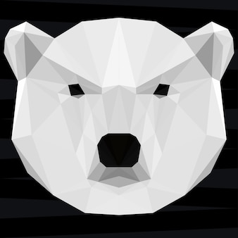 Голова белого медведя. предпосылка темы жизни природы и животных. абстрактный геометрический многоугольный треугольник белый медведь шаблон для дизайна футболки, карты, приглашения, плаката, баннера, плаката, обложки рекламного щита
