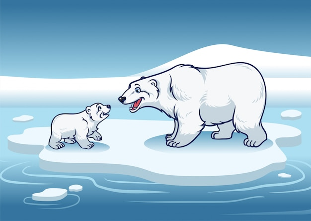 Polar bear and her cub standing in the top of the ice