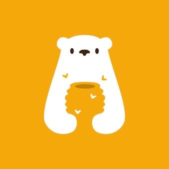 Белый медведь мед улей пчела отрицательное пространство логотип вектор значок иллюстрации