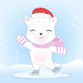 Polar bear on ice skates in snow