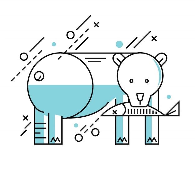 白い冬の背景にポーラークマのイラスト。モノラルフラットラインデザイン。ベクトルイラスト