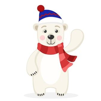 Белый медведь в шарфе и шляпе машет лапой на белом фоне.