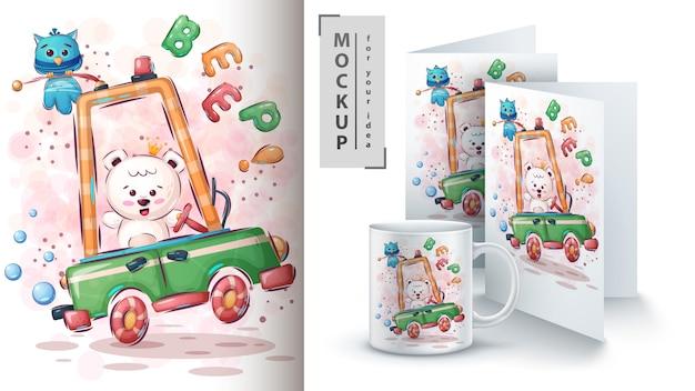 車のポスターとマーチャンダイジングのシロクマ