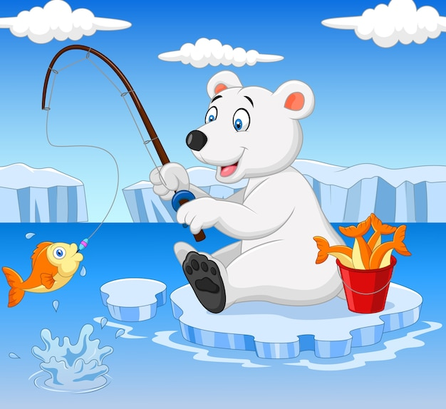 Polar bear is fishing on the arctic ice