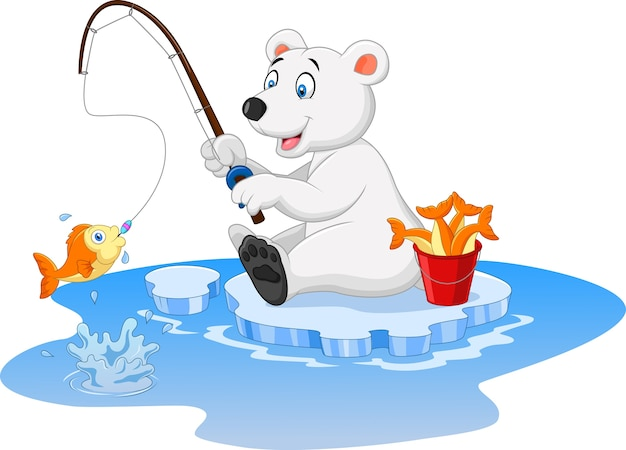 Polar bear is fishing isolated on white background