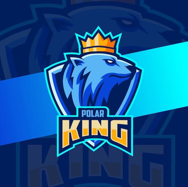 Polar bear king mascot esport logo