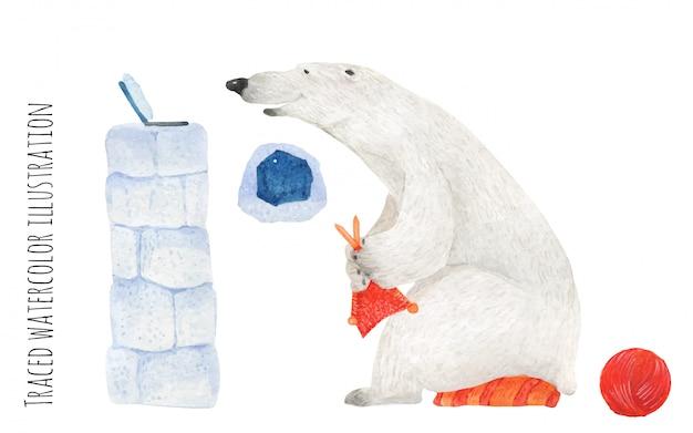 Polar bear knit at the laptop