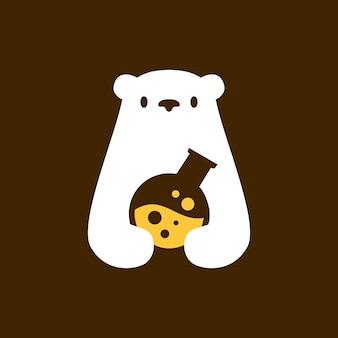 Polar bear lab laboratory negative space logo vector icon illustration