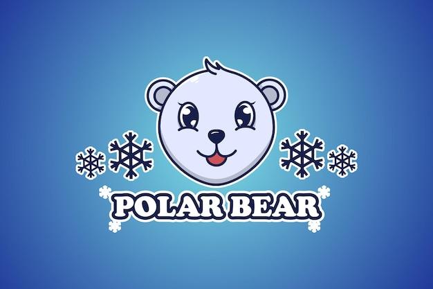 Polar bear logo cartoon illustration