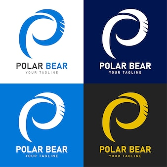 Polar bear logo with letter p and bear scratch