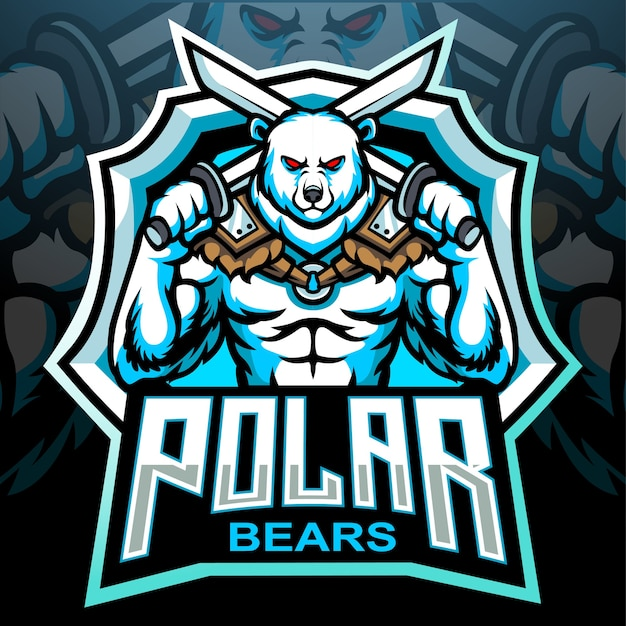 Белый медведь талисман киберспорт дизайн логотипа