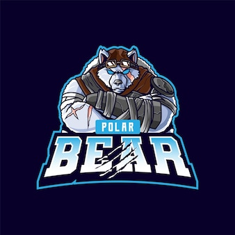 Polar bear mascot logo cartoon