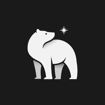 Polar bear minimalist logo with a star