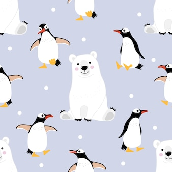 Polar bear and penguin seamless pattern and background.
