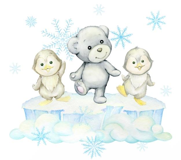Polar bear, penguins, dancing on an ice floe. watercolor winter clipart