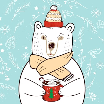 Polar bear in red hat. merry christmas and happy new year greeting card.