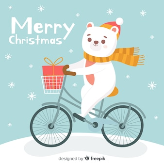 Polar bear riding a bike christmas background