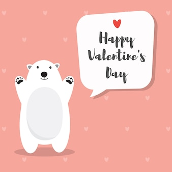 Polar bear on rose pink heart pattern for valentine's day invitation card