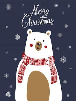 Polar bear scarf cartoon with christmas festival