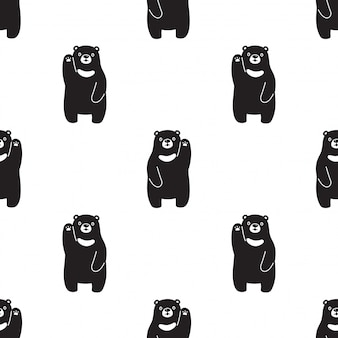 Polar bear seamless pattern cartoon style