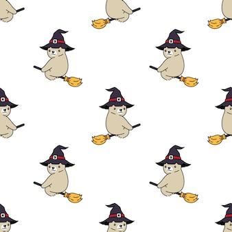 Белый медведь бесшовные модели хэллоуин