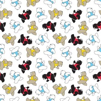 마라톤 캐릭터 만화를 실행하는 북극곰 원활한 패턴
