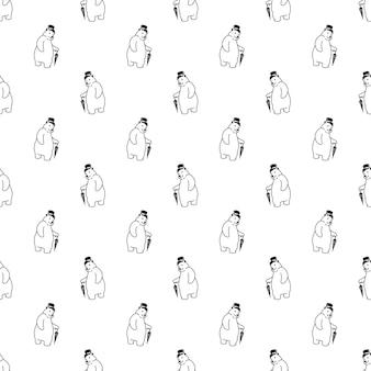 Белый медведь бесшовные модели цилиндр зонтик мультипликационный персонаж