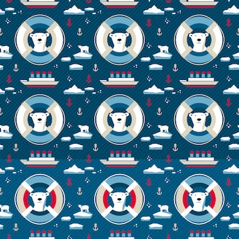 Polar bear seamless pattern with lifebuoy