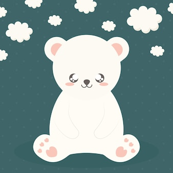 Polar bear sitting and clouds on green