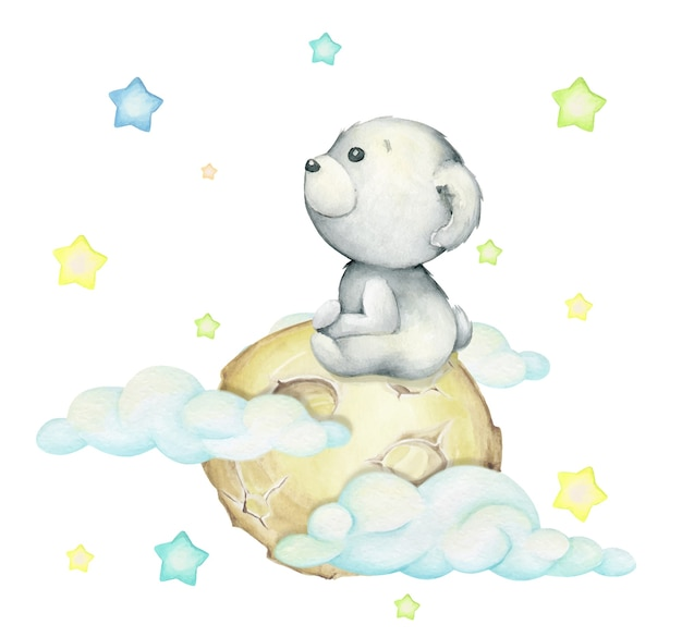 Polar bear, sitting on the moon, surrounded by clouds and stars. watercolor concept on an isolated background, in cartoon style.