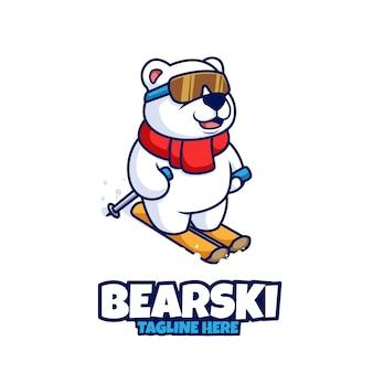 북극곰 스키 보드 눈