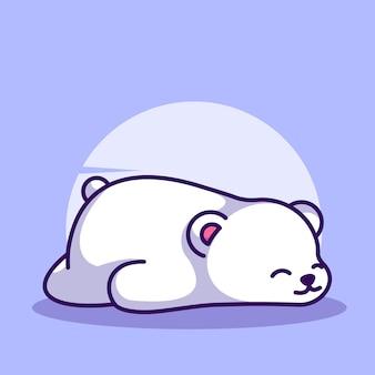 Polar bear sleeping with cute mascot character illustration vector icon