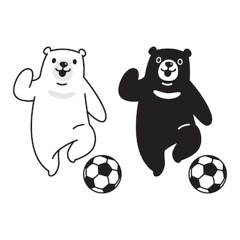 Polar bear soccer football cartoon