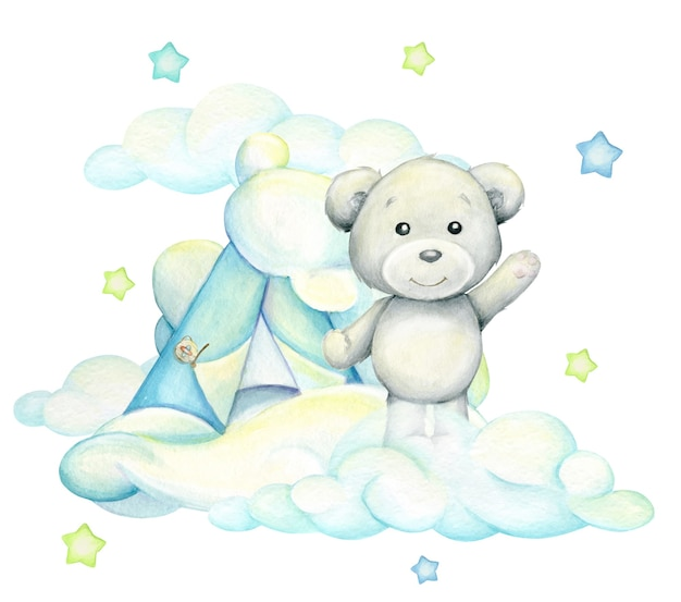 Polar bear, standing against the background of clouds . watercolor concept on an isolated background, in cartoon style.