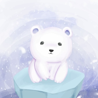 Polar bear standing above the ice
