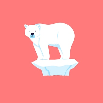 Polar bear stands and looks sadly because the ice is melting