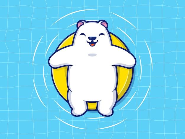 Polar bear swimming on beach