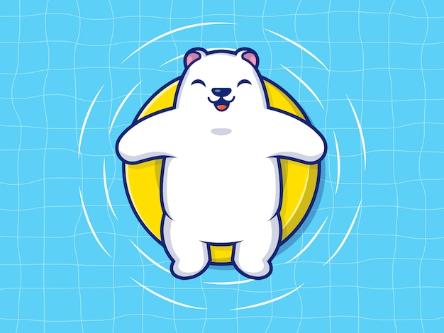 Белый медведь плавание на пляже