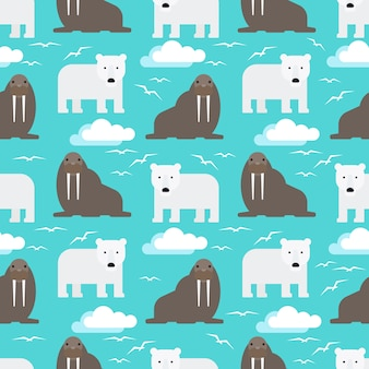 Polar bear and walrus seamless pattern
