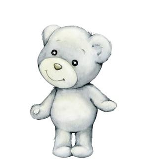 Полярный медведь. акварель, полярное животное в мультяшном стиле на изолированном фоне.