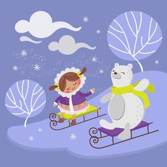 ホッキョクグマ冬の休日動物フラットデザイン漫画手描きイラスト
