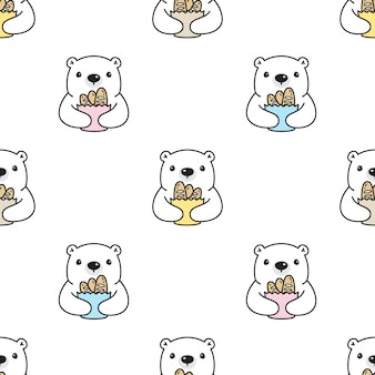Polar bear with bread in paper bag seamless pattern