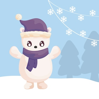 Polar bear with hat and scarf on winter landscape