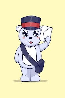 Белый медведь с буквой иллюстрации шаржа